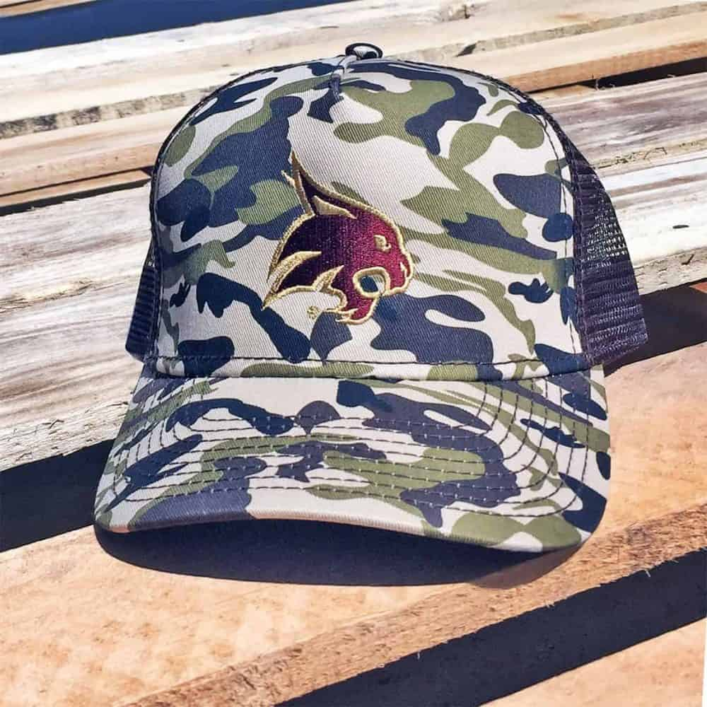 Camo and mesh back cap with Texas State bobcat logo