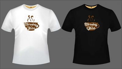 Examples of different colored custom t-shirts with a coffee cup printed on them