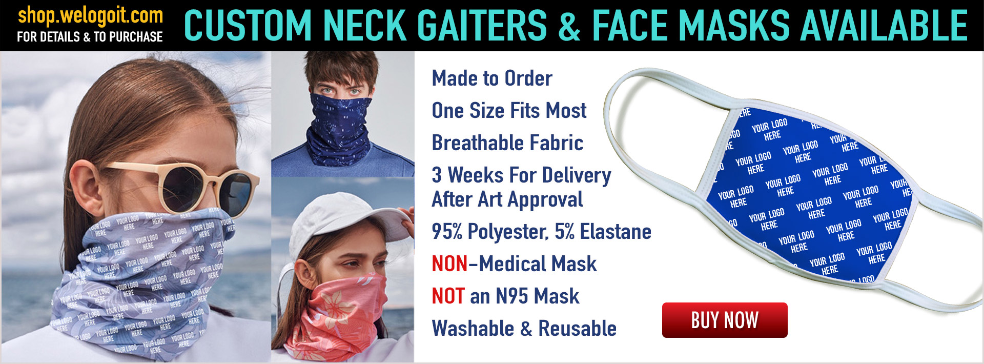 Custom Neck Gaiters and Face Masks