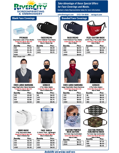 Our Latest Specials on Masks, Other Face Coverings, PPE