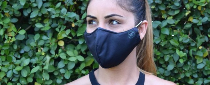 Woman wearing branded face mask
