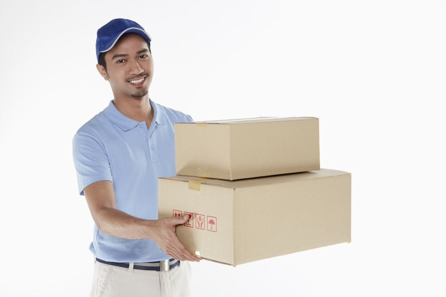 Man delivering Austin promotional products