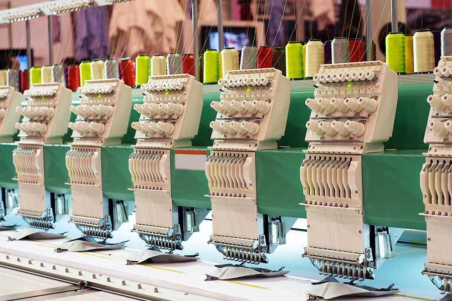 Example of a multi-head commercial machine for embroidery in Austin TX