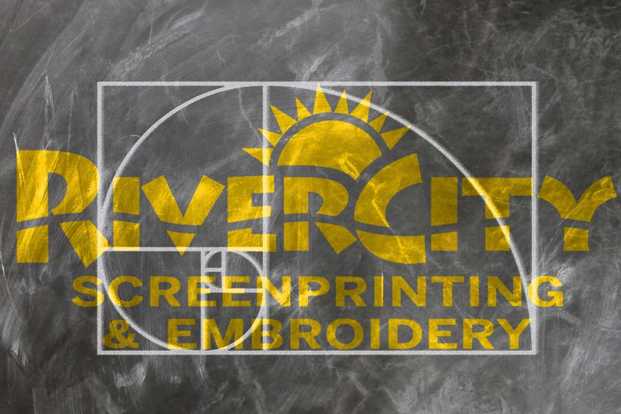 RiverCity Screenprinting & Embroidery logo with a golden spiral and rectangle overlaid